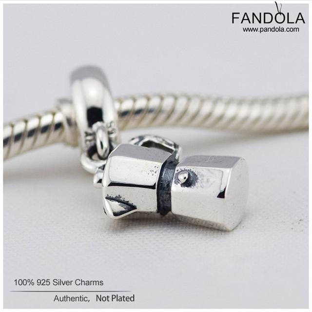 Autêntica 925 grânulos de prata esterlina núcleo do parafuso de amantes do café/espresso pode oscilar encantos mulheres jóias serve para pandora pulseiras