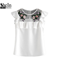 SheIn Flower Patched Dot Mesh Yoke Frill Cap Sleeve Top Women Summer White Embroidered Slim Blouse