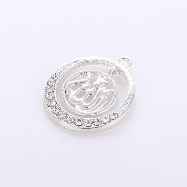 5PCS Silver Muslim Islamic Allah Charm Rhinestone Pendants For Necklace Bracelet DIY Jewelry Making