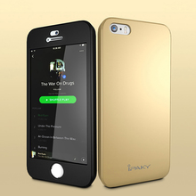 Для iphone 5 5S SE iPaky матовая Case, 360 full body Защитная крышка Case S для iPhone 5 5S антидетонационных PC 3in1 Fundas + стекло Флим