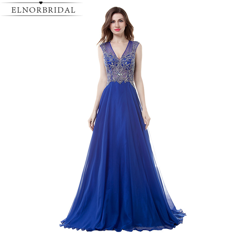 Roayl Blue Sheer Prom Dress 2017 Long Imported Party Dresses Backless Beading Chiffon V Neck Formal Evening Gowns Robe De Soiree