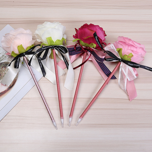 2pcs Decoration Flower Ball Pen Immitation Manual Rose Ball Point