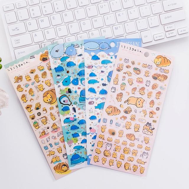 Cute Bread Cat Shark Whale PVC Stickers Adhesive Stickers DIY Decoration Stickers photo decorating sticker