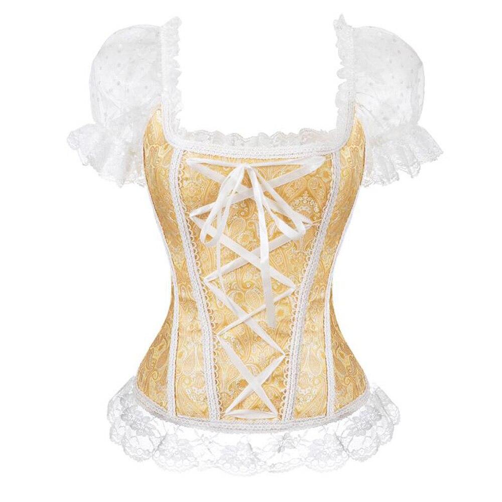 Plus Size Steampunk Blouse Womans Victorian Shirt Short Sleeve Gothic Lace Shirts Retro Vintage Tops With Bandage Blusa Feminina