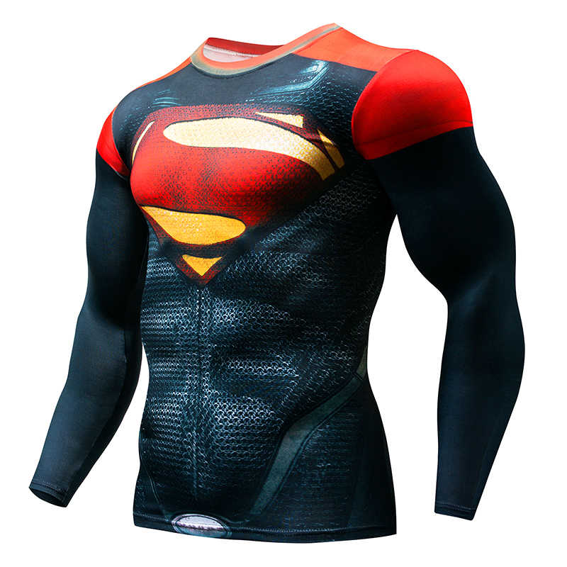 Pria Marvel Superhero Celana Ketat Lengan Panjang Kemeja Batman Superman Captain America Flash 3D Kebugaran Mma UFC K Berlaku T kemeja