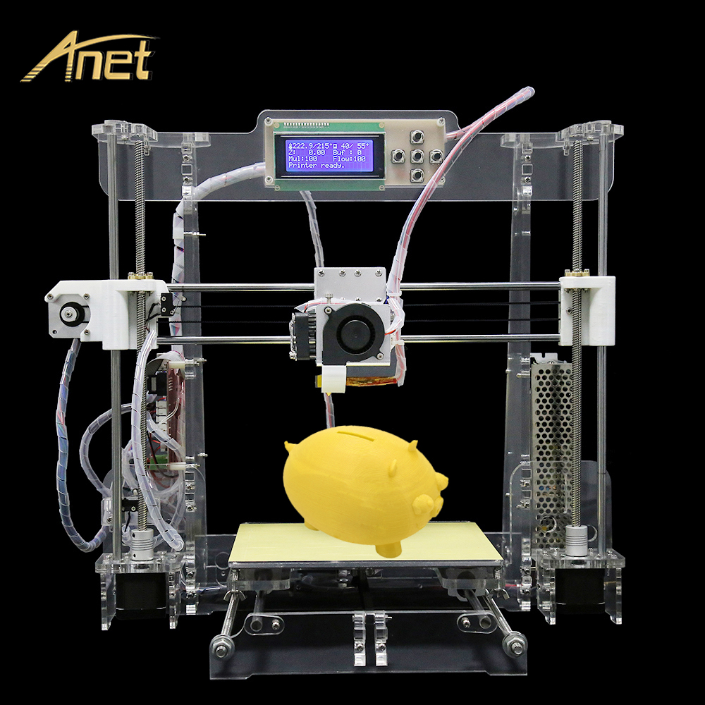 2017 LCD Transparent and Black Anet A8 Precision Reprap Prusa i3 DIY 3D Printer kit 3d-printer Large Printing Size with Filament