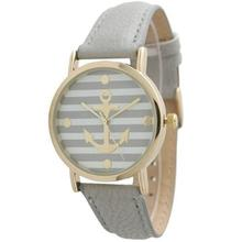 Moment # L03 Fashion Women's  Ladies Striped Anchor Style Leather Watch New