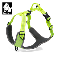 Truelove Padded Reflective Dog Pet Harness Small Large Soft Walk Adjustable With Handle For Seat Belt
