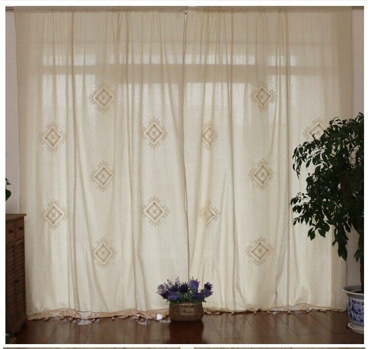 100% haute qualité pays vintage coton lin crochet rideaux Las cortinas Rideau Le tende Der vorhang Gardin Rideau fini