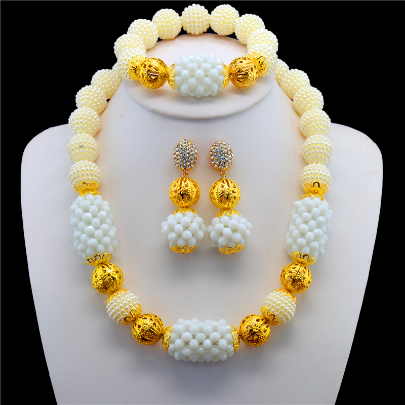 Free Shipping Nigerian White Beads Wedding Jewelry Set Bridal Gold Color Ball Jewelry Sets African Beads Jewelry Set