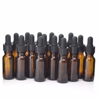 16pcs 1 2Oz New Empty Amber 15ml Glass Dropper Bottle With Glass Eye Droppers For Essential