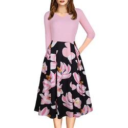 Różowa elegancka sukienka dla kobiet biuro sukienka trzy czwarte rękawem wiosna jesień kwiatowy wydrukowano huśtawka sukienki praca szata longue 2