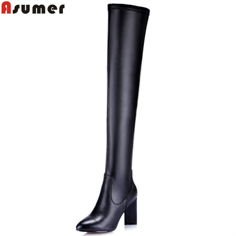 ASUMER 2018 hot sale new arrive woemn boots fashion high quality pu +genuine leather ladies boots black over the knee bootsASUMER 2018 hot sale new arrive woemn boots fashion high quality pu +genuine leather ladies boots black over the knee boots