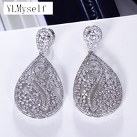 53mm big long earrings brincos 2019 Luxury jewelry Gold and White color bijuteria feminina crystal Women big earring for wedding