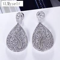 53mm big long earrings brincos 2019 Luxury jewelry Gold and White color bijuteria feminina crystal Women big earring for wedding