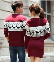 Hotest! Women Sweaters And Pullovers Leisure Long Sleeve O Neck Lovers Sweaters Fashion Couple Christmas Sweaters