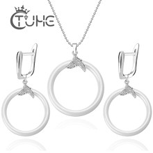 Fashion Casual Accessorie Ceramic Jewelry Sets Round CircLE Never Fade Ceramic Crystal CZ Earrings Necklace Set Costume(China)