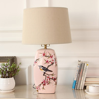 TUDA American Ceramic Table Lamp Flowers And Birds Hand Painted Ceramic Lamp Pink For Living Room