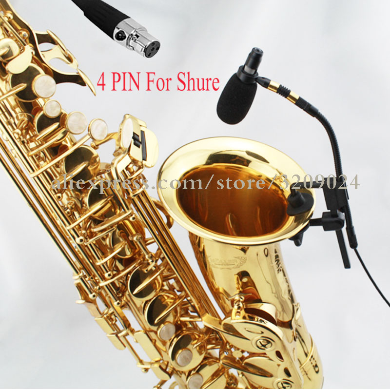 Saxophone Microphone Orchestra Trumpet Sax Gooseneck Musical Instrument Condenser Mic Stage Performance For SHURE 4 Pin TA4F
