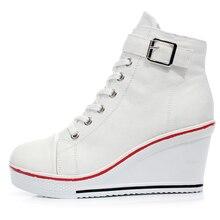 Femmes Casual Chaussures À Talons Hauts Plate-Forme Des Femmes Wedge Chaussures Zapatillas Mujer À Semelles Épaisses Femelle Toile Chaussures Pour Femmes 35-41