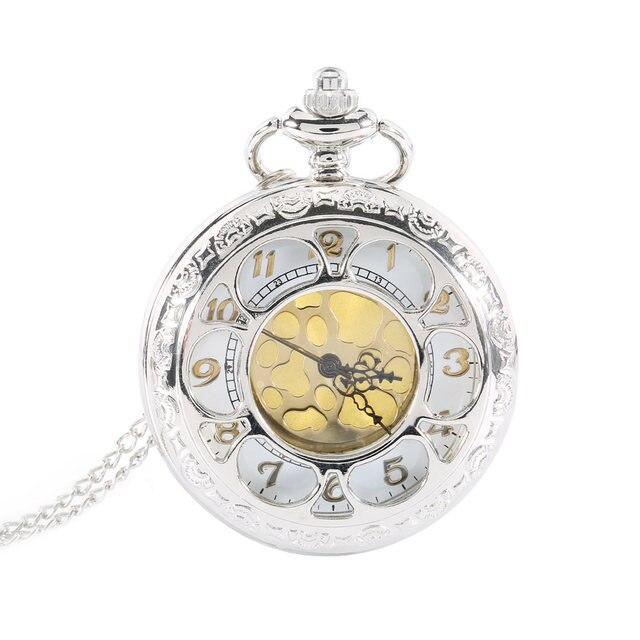Vintage Hollow Flower Quartz Pocket Watch Roman Number Necklace Pendant with Cha