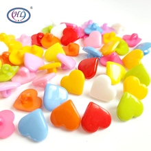 HL 50/100pcs  15mm Mix Colors Heart Shank Plastic Buttons Childrens Apparel Sewing Accessories DIY Crafts