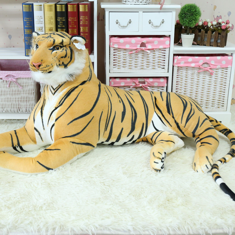simulation lying tiger 110cm plush toy yellow tiger home decoration, Christmas birthday gift x011 larggest size 170cm simulation tiger yellow or white prone tiger plush toy surprised birthday gift w5490