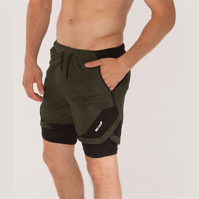 Men Shorts Large Size Casual Gyms Board Two Layers Of Liner Joggers Fitness Clothing Movementbodybuilding Camouflage Double 2019