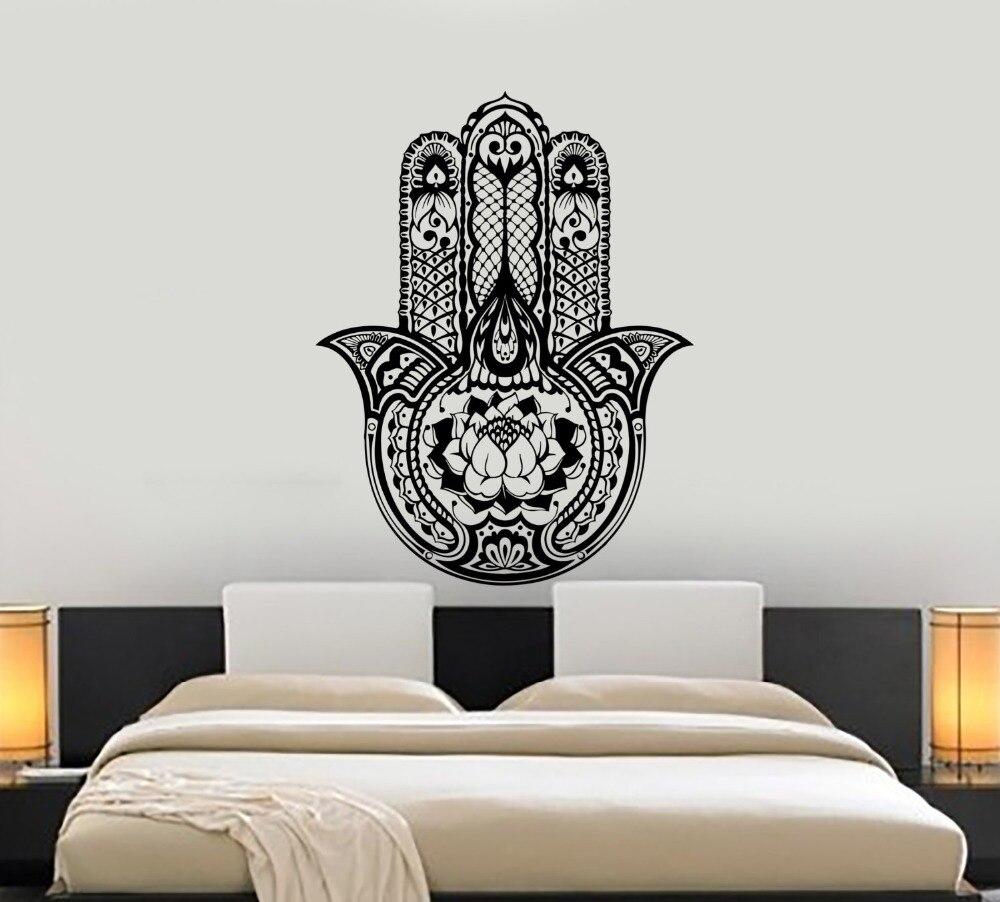 US $14.26 28% OFF|Hand Of Fatima Wall Decal Buddha Yuga Lotus Stickers For  Master Bedroom Mandala Flower Hamasa Hand Design Art Mural Decor SYY389-in  ...