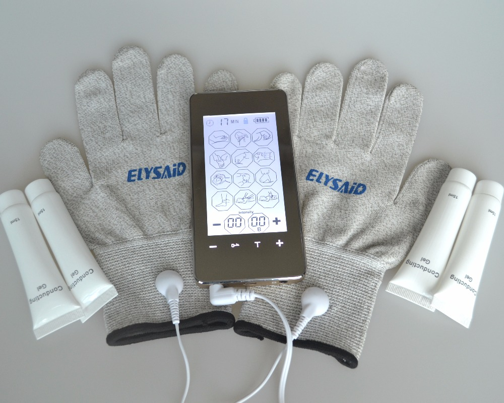 TENS TouchScreen Electrodetherapy Healthcare Massager Body Fatigue Pain Smoothing+1Pair Physiotherapy Gloves+4Pcs Conductive Gel simplicity wholesale 2pr set knitted touchscreen gloves