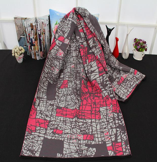 Nuevas Mujeres de la Cachemira de La Bufanda de Europa Marca de Lujo Neta Raya Patrón Impreso Bufanda de Invierno Cálido Chal Pashmina Bufandas