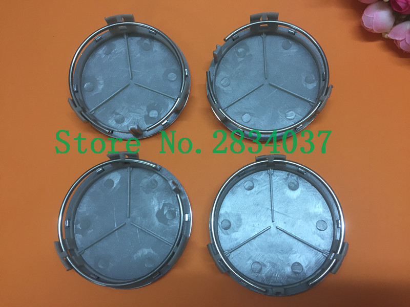 DHL 100pcs 75mm Black/silver Car Wheel Center Caps Three-pointed star Wheel Cover Rims Cap For Mercedes A B C M R S ...
