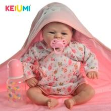 В партии, с милым рисунком, 17 дюймов Reborn Baby Doll игрушки реальные как Улыбка Девушка Мягкий силиконовый Reborn жив bebe ткань средства ухода за кожей возрождающая кукла Boneca