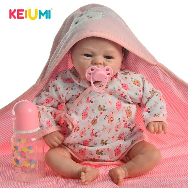 Muñeca de juguete Reborn de 17 pulgadas para niños, juguete de muñeca realista de juguete, de silicona suave, cuerpo de tela Reborn renacido