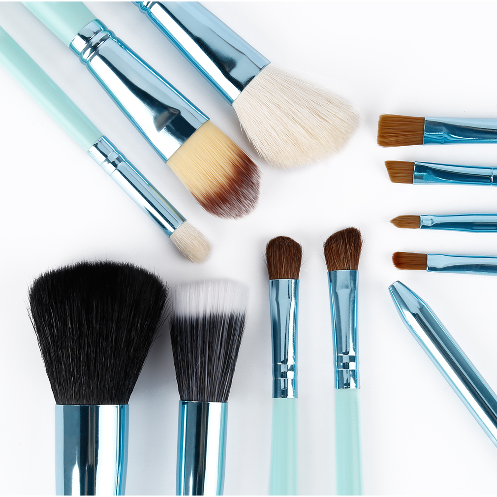 12 pcs Black/Blue Professional Makeup Cosmetic Animal Brush Blusher Eyebrow Eyeliner Foundation Powder Brushes Set hot 7pcs makeup brushes professional fashion mermaid makeup brush synthetic hair eyebrow eyeliner blush cosmetic