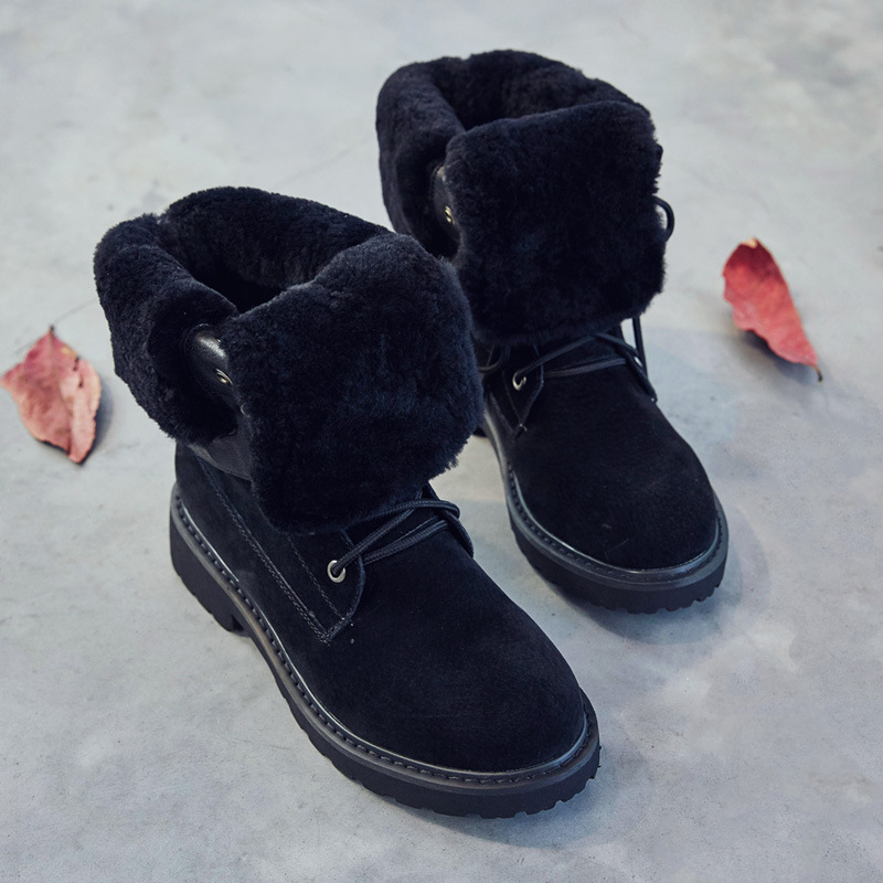 New New 2018 winter new leather thickened tube snow boots women's high-end soft-soled cotton boots wild plus velvet warm boots 2017 autumn and winter new plus velvet thick women s boots soft bottom comfortable breathable mother shoes wild leather