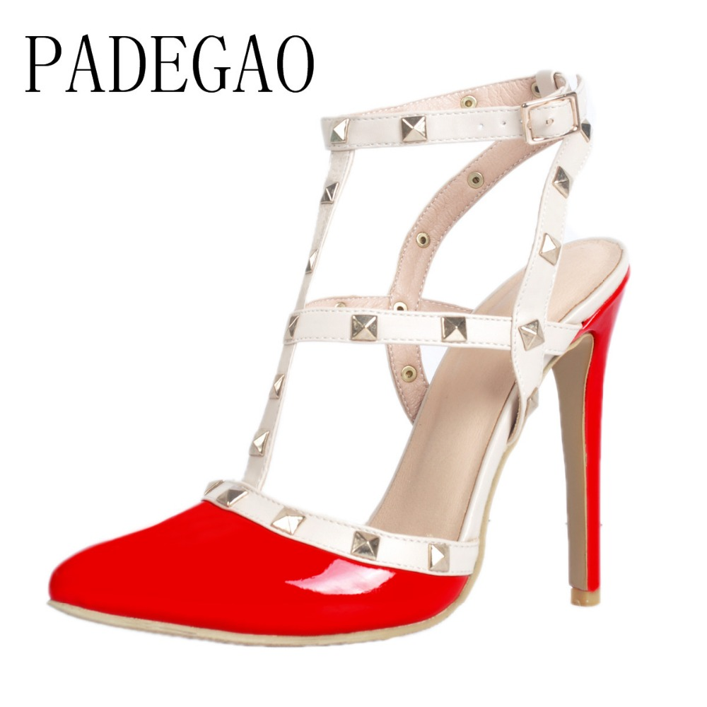 PADEGAO 2017 Fashion Sexy High Heel Women Shoes Party Wedding Shoes For Woman Thin Heels Ladies Shoes Plus Size xd401 summer platform wedges party shoes for woman extreme high heels sexy wedding shoes woman comfort female shoes heel