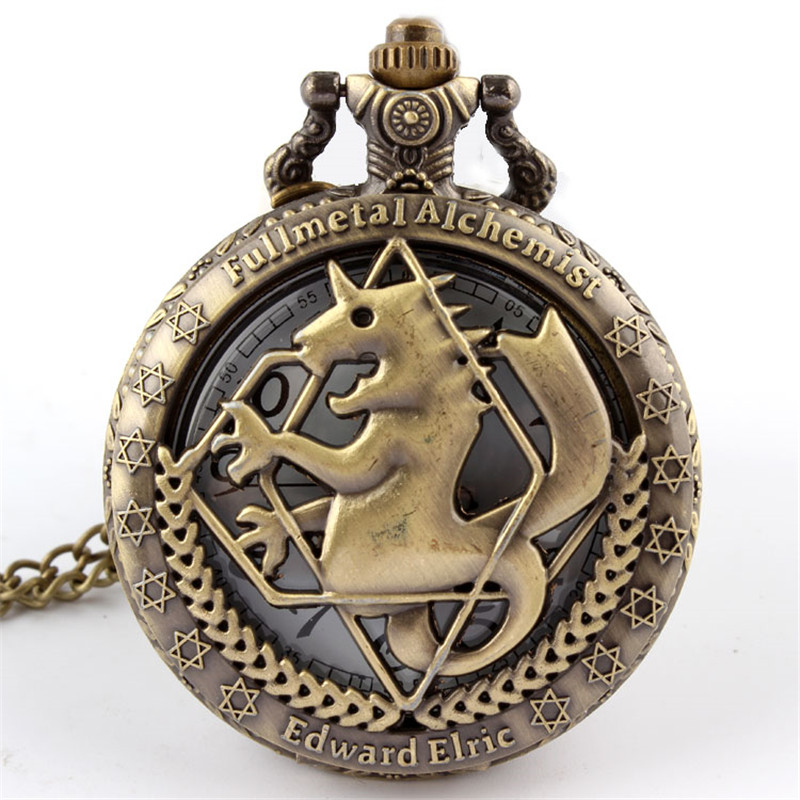 Brons Retro Tone Fullmetal Alchemist Pocket Watch Herre Kvinder Cosplay Edward Elric Ur Fob Halskæde Chain Quartz Pocket Watch