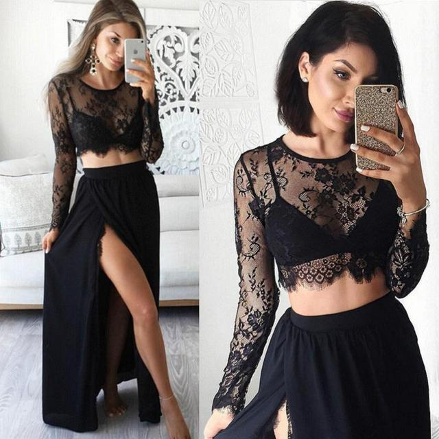 1f26d656cff Black Long Sleeved Evening Dresses 2017 Sexy Two Piece Prom Dress Split  Girls Party Formal Evening