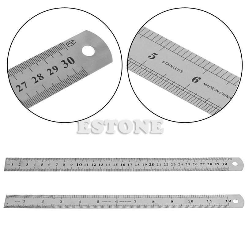 f4adfb95a 30 سنتيمتر 12 ضعف الجانب الفولاذ المقاوم للصدأ متري مسطرة معدن جيب الحقيبة  قياس