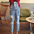 New Korean version Jeans Fashion Vintage High Waist Slim was thin Jeans student Overalls Jeans Holes Casual Loose Cowboy Pants
