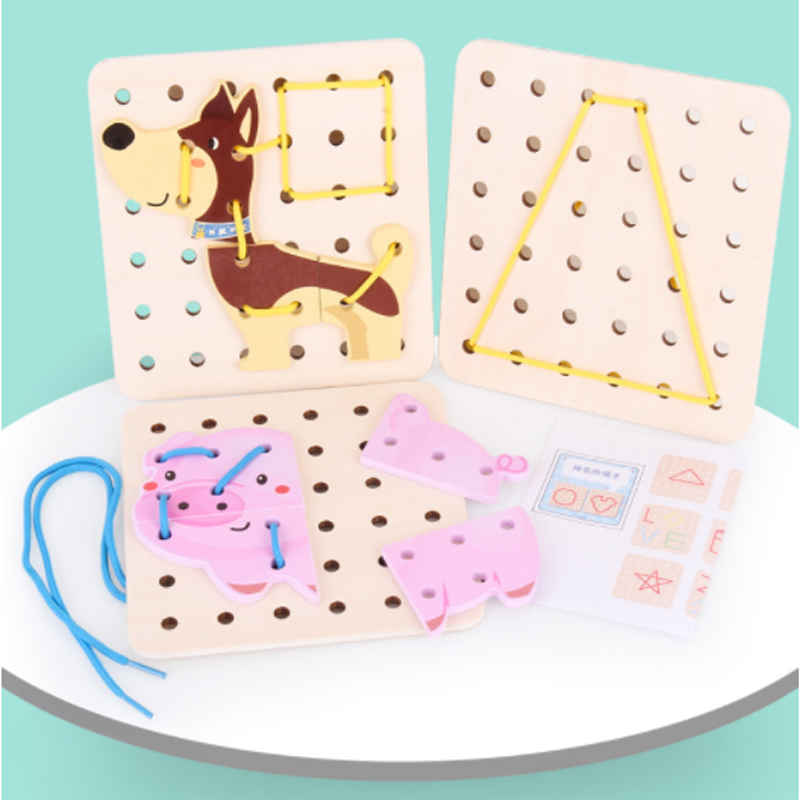 Variety Shape DIY Crafts Threading Board Child Kids Wooden Toy Animal Lacing String Jigsaw Puzzle Shoelaces Beads Toys