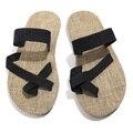2016 Moda marca Flip Flop Verano Hombres Sandalias, Plataforma de La Manera Sandalias, Suave de Algodón de Cáñamo Beach Flip Flops Para hombres Zapatillas