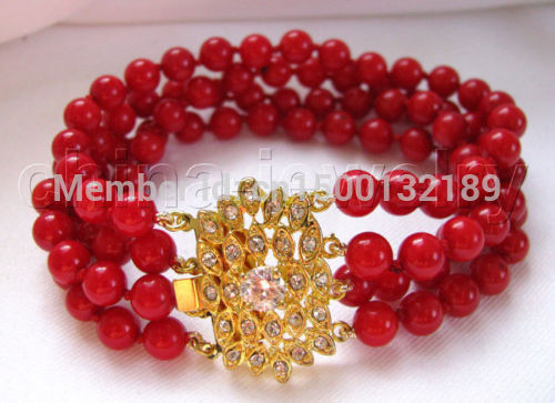 "xd 00199 Charming 8"" 4row 7mm perfect round red coral bracelet - GP clasp"