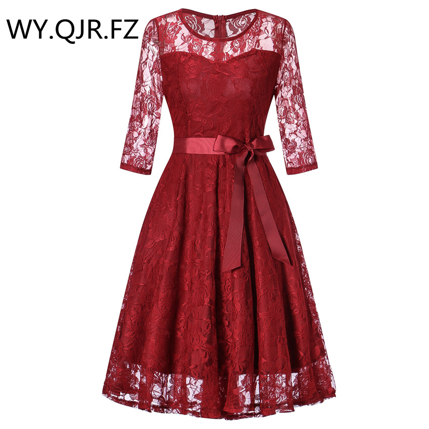 OML516#Middle sleeve O-Neck short wine red lace Bow   Bridesmaid     Dresses   wedding party   dress   prom gown women's fashion wholesale