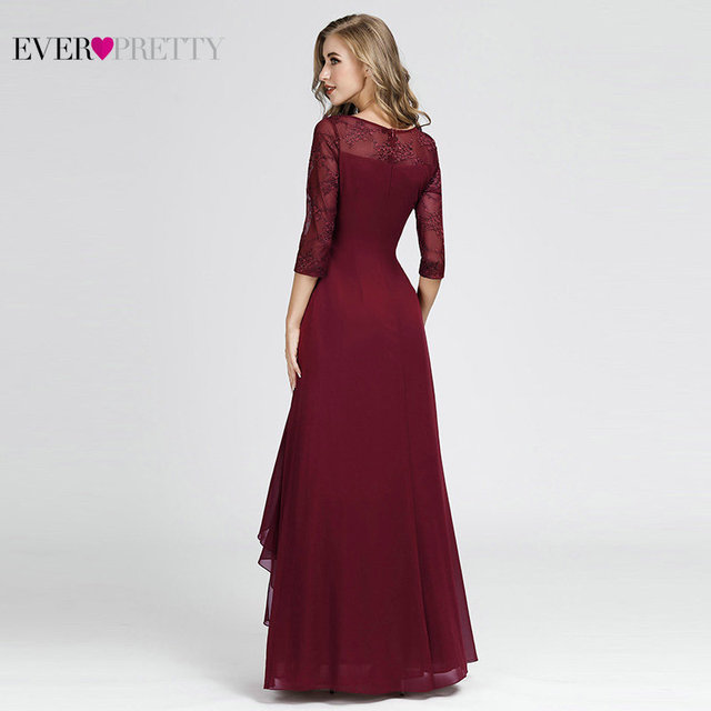 Evening Dresses Long 2019 Elegant A-line Lace Half Sleeve Vestidos De Fiesta De Noche Sexy Plus Size Burgundy Formal Party Gowns Evening Dresses
