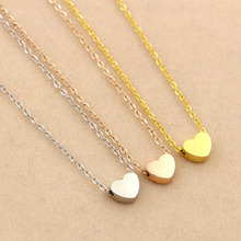 Fashion solid Heart Love Gold color Pendants Necklaces 316l stainless steel Charms Chocker Women lady Christmas