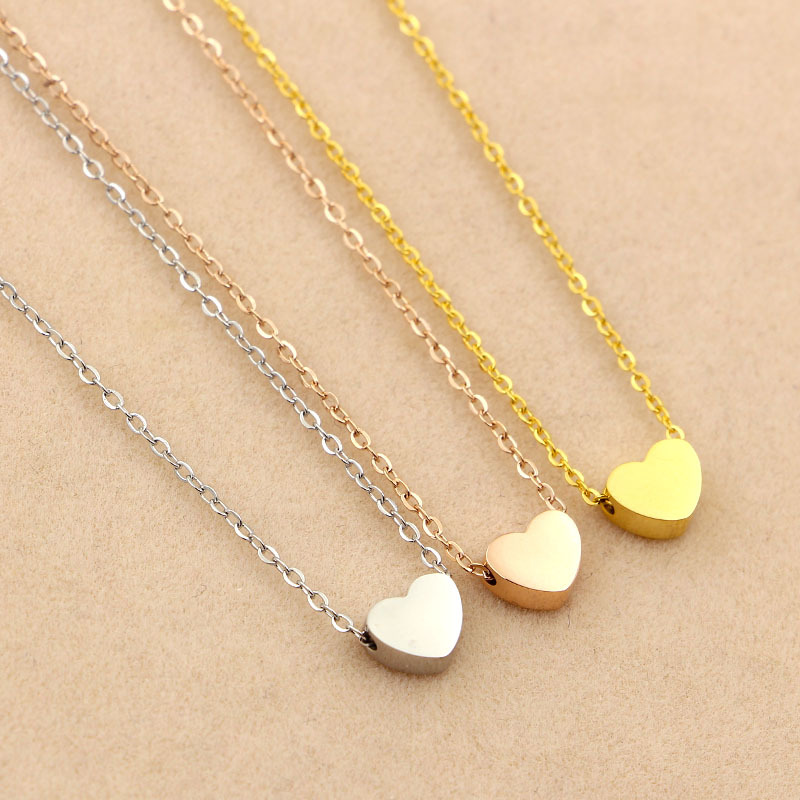 Fashion solid Heart Love Gold color Pendants Necklaces 316l stainless steel Charms Chocker Women lady font