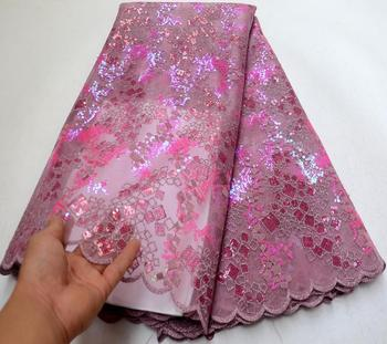 Latest African Dry Lace Fabrics High Quality French Mesh Lace Fabric With Sequins High End Nigerian Voile Laces For Wedding