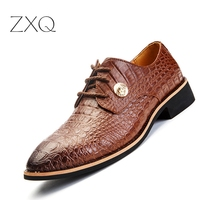 2015 New Style Crocodile Pattern Men Oxford Shoes Flat Dress Shoes Lace Up Cowhide Leather Alligator